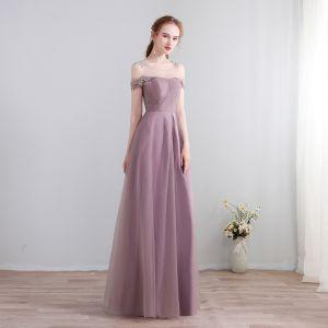 Mode Lange Lavendel Abendkleider 2018 A Linie Schnüren U-Ausschnitt Tülle Rückenfreies Abend Festliche Kleider