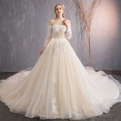 Audrey Hepburn Style Champagne Wedding Dresses 2019 Ball Gown 3/4 Sleeve Beading Sequins Crystal Flower Lace Off-The-Shoulder Backless Royal Train
