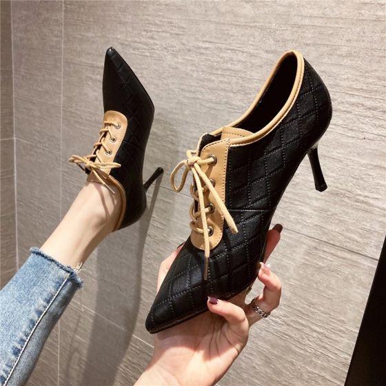 Fashion Black Street Wear Pumps 2020 7 cm Stiletto Heels Pointed Toe Pumps