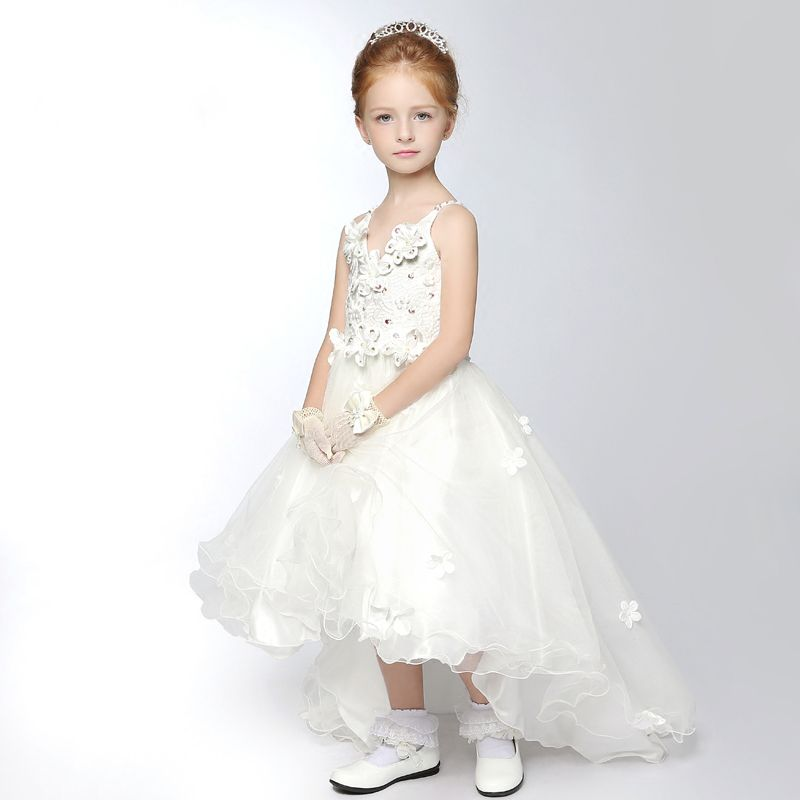 Chic / Beautiful Church Wedding Party Dresses 2017 Flower Girl Dresses White Asymmetrical A-Line / Princess V-Neck Sleeveless Backless Sash Flower Appliques Pearl Sequins