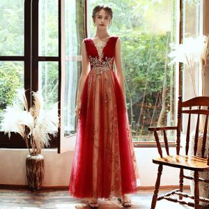 Charming Red Evening Dresses  2020 A-Line / Princess See-through Deep V-Neck Sleeveless Beading Glitter Tulle Floor-Length / Long Ruffle Backless Formal Dresses