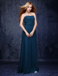 Exquisite Empire Lace Ruffle Sash Ink Blue Chiffon Bridesmaid Dresses 2015
