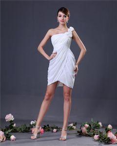 Fleur Elegante Une Epaule Cuisse Robes De Graduation De Longueur Mousseline De Soie
