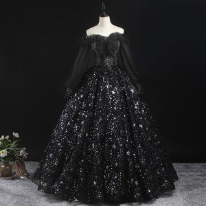 Victorian Style Black Prom Dresses 2020 Ball Gown Off-The-Shoulder Puffy Long Sleeve Star Appliques Sequins Floor-Length / Long Ruffle Backless Formal Dresses