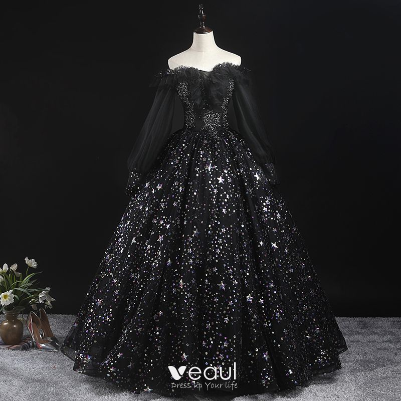 Victorian Style Black Prom Dresses 2020 Ball Gown Off The Shoulder Puffy Long Sleeve Star Appliques