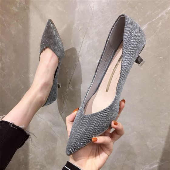 Chic / Beautiful Grey Casual Office Pumps 2020 Glitter Sequins 5 cm Stiletto Heels Pointed Toe Pumps