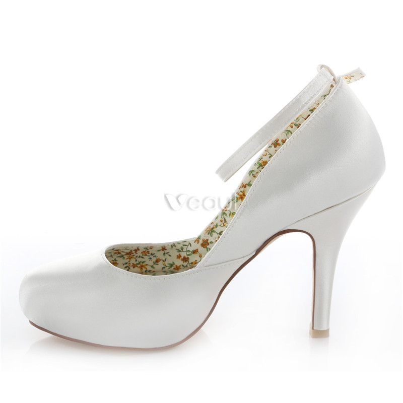Classic Satin Wedding Shoes White Stiletto Heels Pumps 10 Cm High Heel Peep Toe