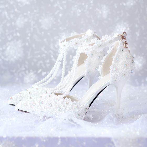 Encantador Marfil Rhinestone Con Encaje Flor Zapatos de novia 2020 Perla T-Correa 9 cm Stilettos / Tacones De Aguja Punta Estrecha Boda De Tacón
