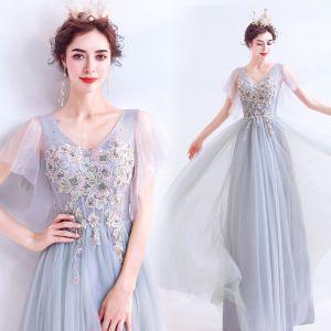 Elegant Grey Evening Dresses  2020 A-Line / Princess V-Neck Pearl Rhinestone Lace Flower Short Sleeve Backless Floor-Length / Long Formal Dresses