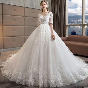 Chic / Beautiful White Wedding Dresses 2018 A-Line / Princess V-Neck 1/2 Sleeves Backless Appliques Lace Pearl Ruffle Cathedral Train