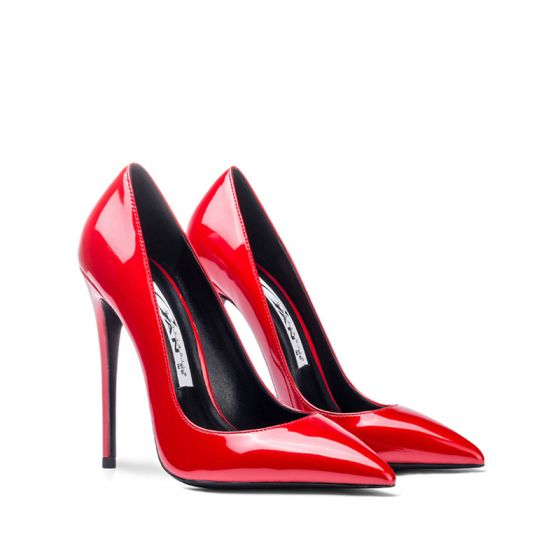 Piękne Czerwone Biuro OL Skóry Lakierowanej Czółenka 2020 12 cm Szpilki Szpiczaste Czółenka