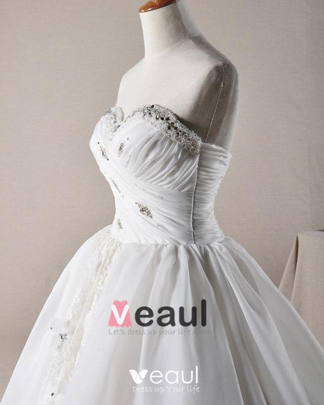 Ruffles Applique Beading Sweetheart Laceworks Organza A Line Wedding Dress