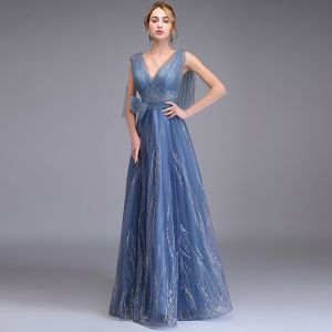 Elegant Ocean Blue Evening Dresses  2019 A-Line / Princess Deep V-Neck Sleeveless Appliques Lace Bow Sash Floor-Length / Long Ruffle Backless Formal Dresses