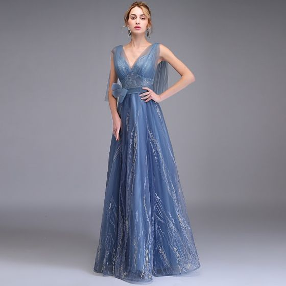 Elegant Ocean Blue Evening Dresses  2019 A-Line / Princess Deep V-Neck Sleeveless Appliques Lace Bow Sash Floor-Length / Long Ruffle Backless Formal Dresses