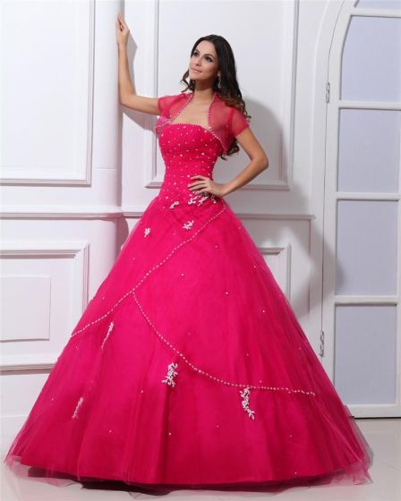 Ball Gown Organza Ruffle Beaded Applique Strapless Floor Length Quinceanera Prom Dress