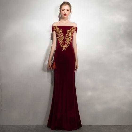 Charming Burgundy Evening Dresses  2020 Trumpet / Mermaid Suede Off-The-Shoulder Gold Lace Flower Beading Sequins Sleeveless Backless Floor-Length / Long Formal Dresses