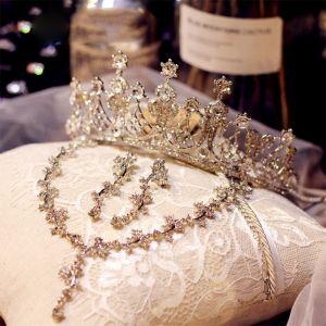 Mooie / Prachtige Zilveren Bruidssieraden 2019 Metaal Rhinestone Tiara Nek Ketting Oorbellen Accessoires