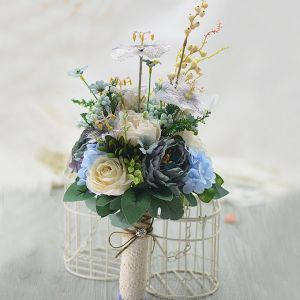 Old Blue Retro Elegant Tea Bud Roses Bridal Bouquets Holding Flowers Wedding Flowers