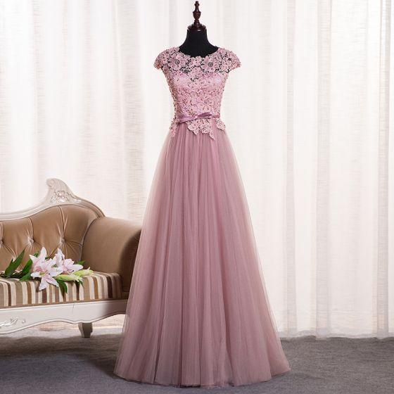 Hermoso Rosa Clara Vestidos de gala 2018 A-Line / Princess Apliques Bowknot Perla Scoop Escote Sin Espalda Sin Mangas Largos Vestidos Formales