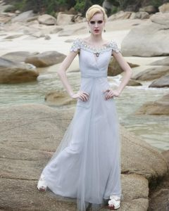 Charmeuse Rhinestone Mesh Beading Ruffle Off-the-shoulder Ankle Length Evening Dresses