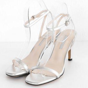 Sexy Argenté Vêtement de rue Sandales Femme 2020 Bride Cheville 10 cm Talons Aiguilles Peep Toes / Bout Ouvert Sandales