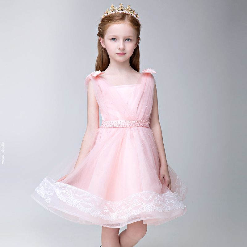 Chic / Beautiful Hall Wedding Party Dresses 2017 Flower Girl Dresses Candy Pink Short A-Line / Princess Pearl Sash Square Neckline Sleeveless Backless Lace Appliques