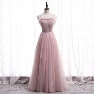 Modest / Simple Blushing Pink Prom Dresses 2020 A-Line / Princess Spaghetti Straps Sleeveless Floor-Length / Long Ruffle Backless Formal Dresses