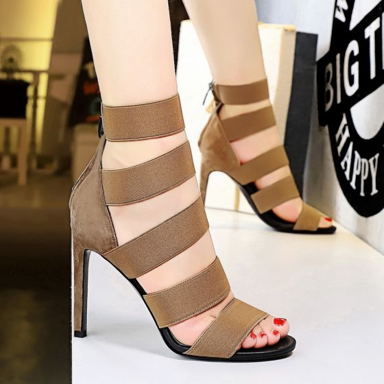 Chic / Belle Marron Club de carnaval Percé Sandales Femme 2020 10 cm Talons Aiguilles Peep Toes / Bout Ouvert Sandales