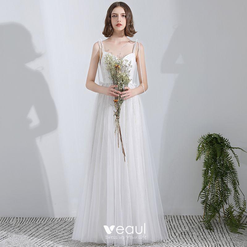 shop cute cheap special section Simple Blanche Longue Mariage 2018 Princesse Tulle Corset Plage Robe De  Mariée