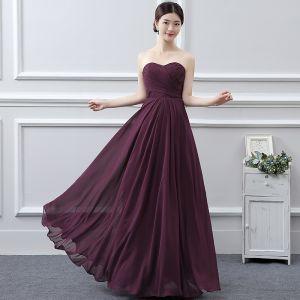 Classique Robe Demoiselle D'honneur 2017 Grape Princesse Longue Amoureux Sans Manches Dos Nu Robe Pour Mariage