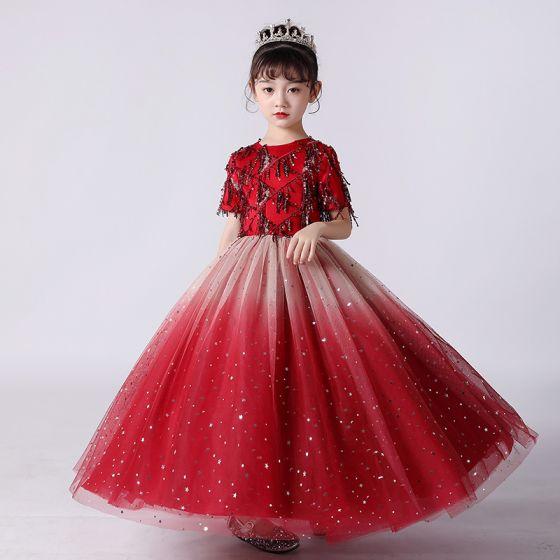 Chic / Beautiful Red Birthday Flower Girl Dresses 2020 Ball Gown Scoop Neck Short Sleeve Sequins Tassel Glitter Tulle Floor-Length / Long Ruffle