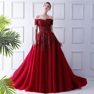 Elegant Burgundy Evening Dresses  2019 Ball Gown Off-The-Shoulder Short Sleeve Sequins Court Train Ruffle Backless Formal Dresses