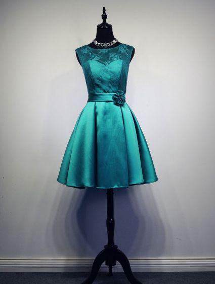 Turquoise Jurk Bruiloft.Eenvoudige Bruidsmeisje Jurken Jade Satijnen Jurk Voor De Bruiloft
