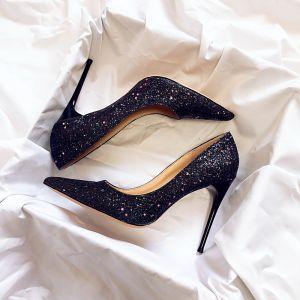 Scintillantes Ciel étoilé Noire Chaussure De Mariée 2019 Cuir Paillettes 10 cm Talons Aiguilles À Bout Pointu Mariage Escarpins