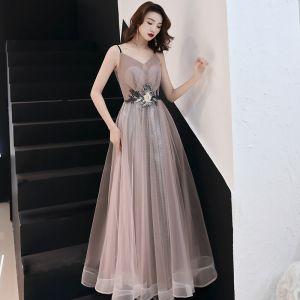 Mode Rosa Abendkleider 2019 A Linie Applikationen Spitze Spaghettiträger Ärmellos Rückenfreies Lange Festliche Kleider