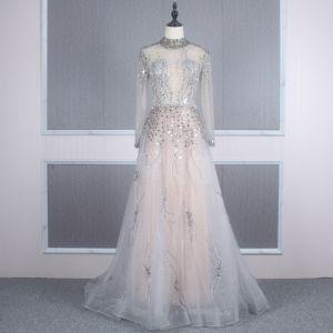 Illusion Grau Durchsichtige Abendkleider 2020 A Linie Stehkragen Lange Ärmel Pailletten Perlenstickerei Lange Rüschen Festliche Kleider