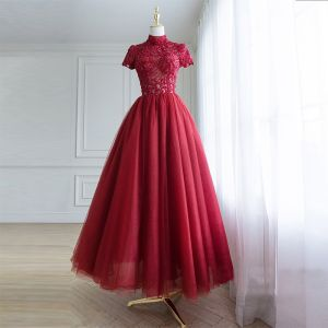 Chic / Belle Bordeaux Robe De Bal 2018 Princesse Fait main Perlage Paillettes En Dentelle Fleur Col Haut Manches Courtes Dos Nu Longueur Cheville Robe De Ceremonie