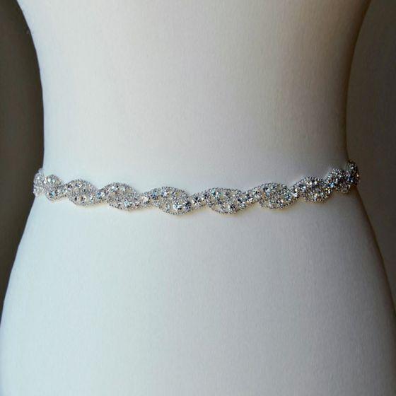 Chic / Beautiful White Sash 2020 Metal Satin Beading Rhinestone Bridal Wedding Prom Accessories