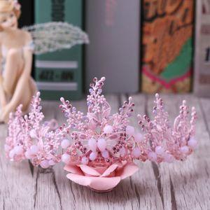 Mooie / Prachtige Candy Roze Bruidssieraden 2017 Metaal Vlinder Kristal Rhinestone Haaraccessoires Huwelijk Gala Accessoires