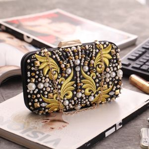 Chic / Beautiful Black Square Clutch Bags 2020 Metal Gold Embroidered Beading Pearl