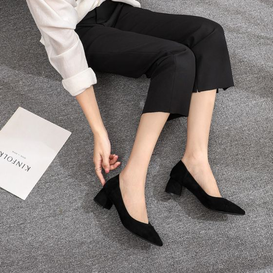 Chic / Beautiful Black Casual Suede Pumps 2020 5 cm Thick Heels Low Heels / Kitten Heels Pointed Toe Pumps