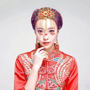 Gloden Red Pearl Headpiece / Earrings Two-piece