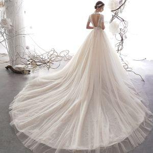 Vintage / Retro Champagne Wedding Dresses 2019 A-Line / Princess High Neck Short Sleeve Backless Heart-shaped Handmade  Beading Chapel Train Ruffle