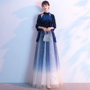 Charmant Bleu Roi Étoile Paillettes Robe De Soirée 2020 Princesse Daim Col Haut Faux Diamant Sans Manches Longue Robe De Ceremonie
