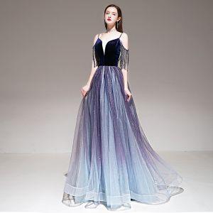 Elegante Violett Farbverlauf Abendkleider 2020 A Linie Spaghettiträger Kurze Ärmel Perlenstickerei Quaste Glanz Tülle Lange Rüschen Rückenfreies Festliche Kleider