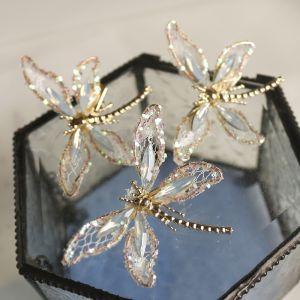 Unika Guld Fjäril Hårsmycken Brud Huvudbonad 2020 Legering Kristall Bröllop Tillbehör