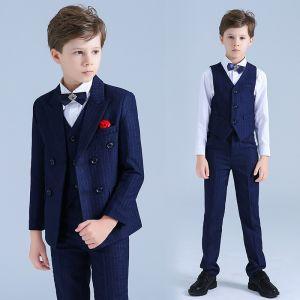 Royal Blue Striped Boys Wedding Suits Rhinestone Tie Long Sleeve Coat Shirt 2019