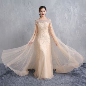 Luxury / Gorgeous Champagne Floor-Length / Long Evening Dresses  2018 Trumpet / Mermaid With Cloak Tulle U-Neck Handmade  Beading Rhinestone Crystal Evening Party Formal Dresses