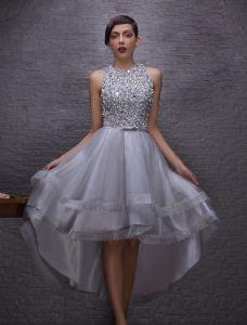 Glitzerndes Cocktailkleider 2016 Scoop Neck Sicken Pailletten Kristalle Rhinestones Asymetrisches Kleid