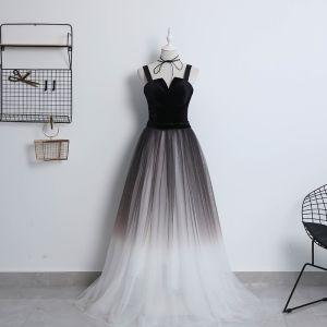 Mode Schwarz Farbverlauf Ivory / Creme Ballkleider 2018 A Linie Schultern Ärmellos Lange Rüschen Rückenfreies Festliche Kleider